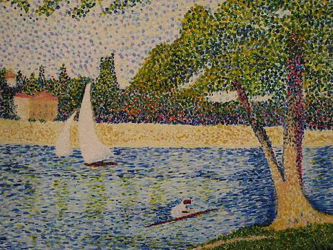 Rendition of Seurat's Seine Grande Jatte by April Maisano