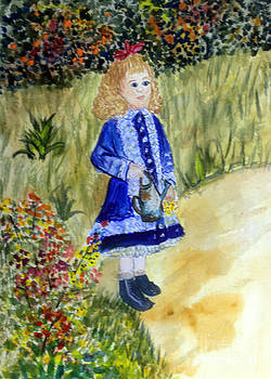 Donna Walsh - Renoir Girl with Watering Can in watercolor
