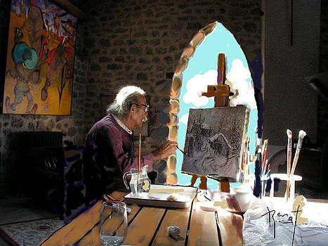 Renot travaille a son atelier en Lozere  by Bernard RENOT