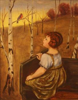 replica-Little girl and bird by Lou Magoncia