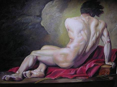 reproduction of Jacques L. David's Male Nude Known as Patroclus by Arion Khedhiry