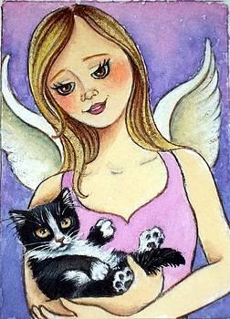 Rescue Angel with Tuxedo Kitten by Debrah Nelson
