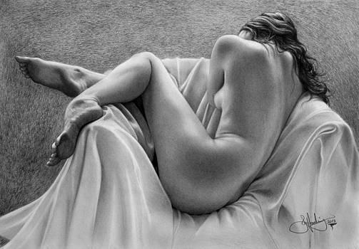 Resting Female drawing 3 by John Harding