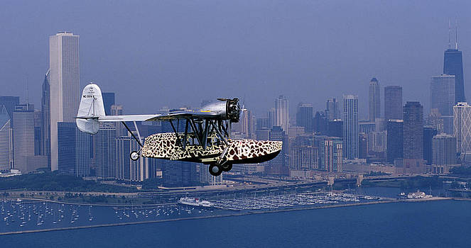 Restored Original Sikorsky S-39-c Against The Chicago Skyline by Austin Brown
