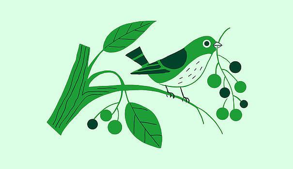 Nancy Lorene - RETRO BERRY BIRD Green Scene