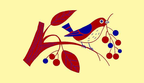 Nancy Lorene - RETRO BERRY BIRD July Afternoon