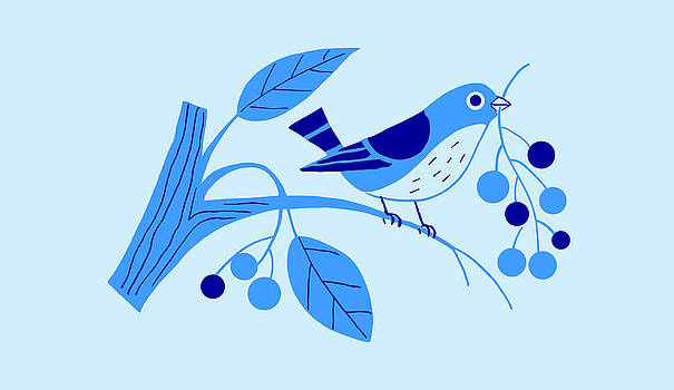 Nancy Lorene - RETRO BERRY BIRD Morning Blue