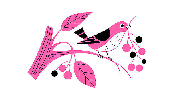 Nancy Lorene - RETRO BERRY BIRD Pink and Black