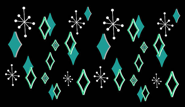 Nancy Lorene - RETRO DIAMONDS in Turquoise and Black