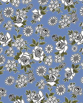 Nancy Lorene - RETRO ROSES in Blue and Gray