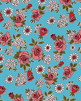 Nancy Lorene - RETRO ROSES in Blue and Pink