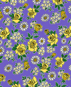 Nancy Lorene - RETRO ROSES in Lavender and Yellow