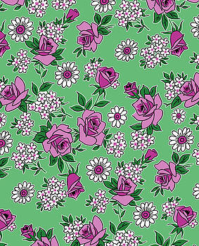 Nancy Lorene - RETRO ROSES in Mint and Magenta