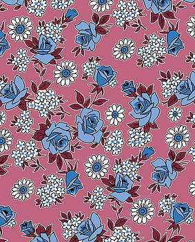Nancy Lorene - RETRO ROSES in Rose and Blue