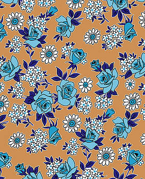 Nancy Lorene - RETRO ROSES in Tan and Blue