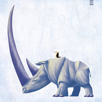 Rhino and Bird by Gorka Aranburu