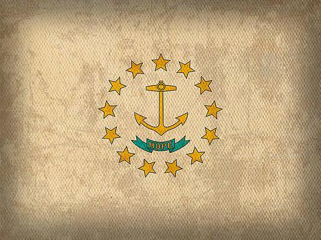 Design Turnpike - Rhode Island State Flag Art on Worn Canvas