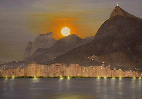 Rio de Janeiro - Moonset by Wagner Chaves