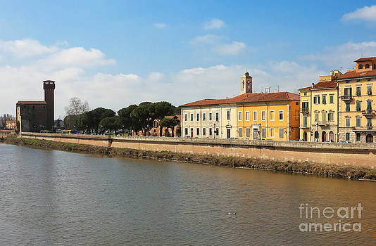River Arno panoramic view with the old citadel at the background by Kiril Stanchev