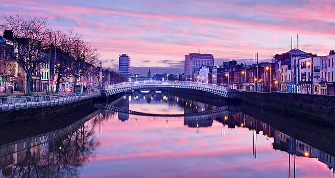 River Liffey Reflections at Dawn - Dublin by Barry O Carroll