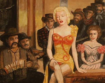 Larry E  Lamb - Marilyn singing acrylic painting