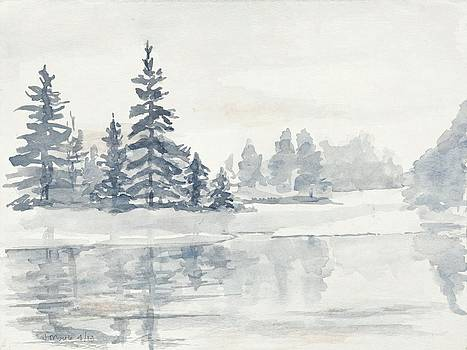 River Reflects Trees and Snow by Jean Moule