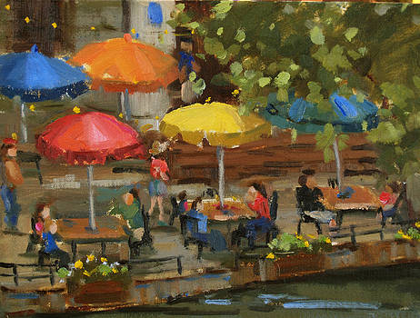 Riverwalk sparkle 9x12 oil on linen board by Judy Crowe