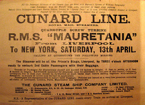 RMS Mauretania 1912 by Leena Pekkalainen