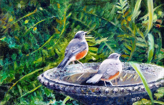 Robins Drinking by Marie-Claire Dole