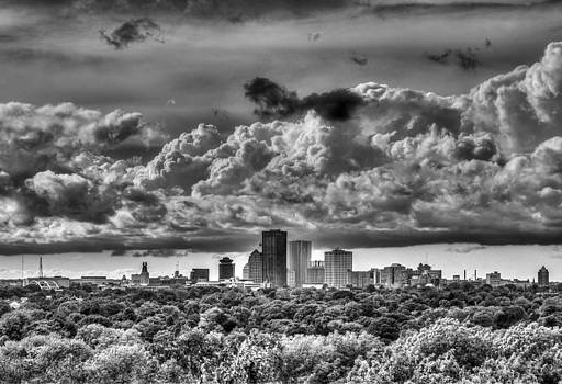 Rochester NY Skyline in black and white by Tim Buisman
