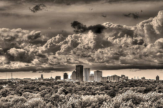 Rochester NY Skyline in Sepia by Tim Buisman