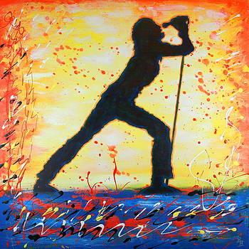 Rock Band Singer Abstract Art by Bob Baker