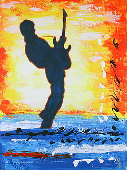 Rock Guitar Abstract Painting by Bob Baker