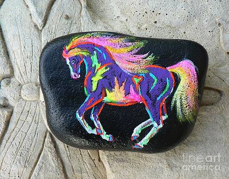 Rock 'N' Ponies - Overo Rainbow Pony  by Louise Green
