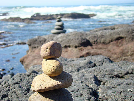 Baslee Troutman - Rock Stacking art Prints Ocean Coastal Beach Waves