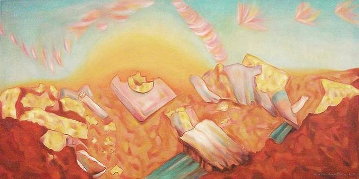 Suzanne  Marie Leclair - Rocks and Sunset in Desert