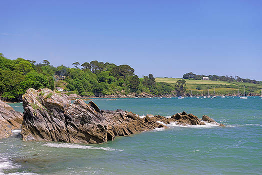 Rocks off Trebah Beach - Cornwall by Rod Johnson