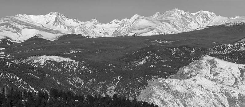 James BO  Insogna - Rocky Mountain Continental Divide Winter Panorama Black White