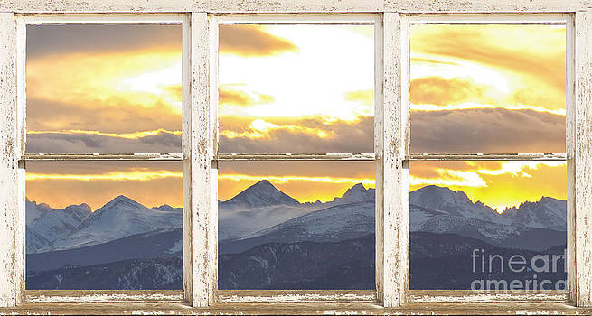 James BO  Insogna - Rocky Mountain Sunset White Rustic Farm House Window View