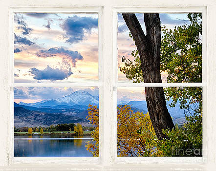 James BO  Insogna - Rocky Mountains lake Autumn Rustic White Washed Window View