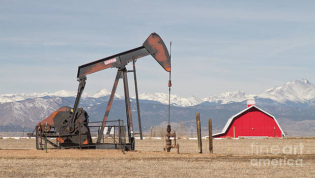 James BO  Insogna - Rocky Mountains Oil Well and Red Barn Panorama
