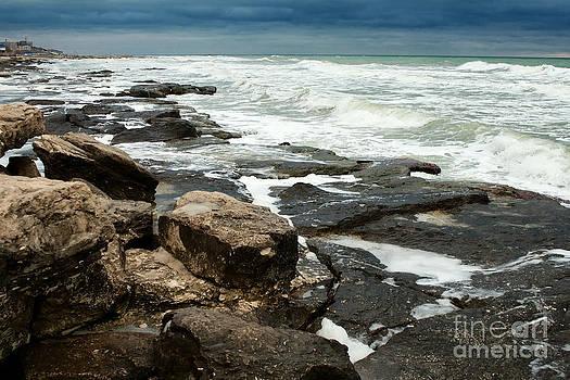 Rocky Shoreline With Pounding Surf by Alexandr  Malyshev