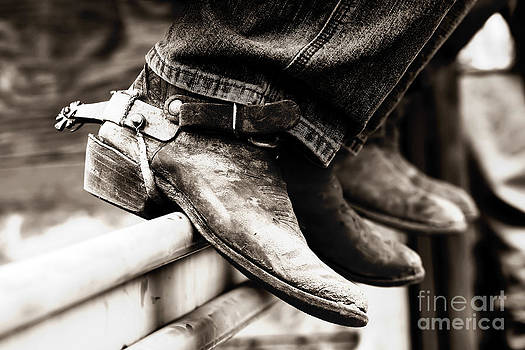 Rodeo Boots and Spurs in Black and White by Lincoln Rogers