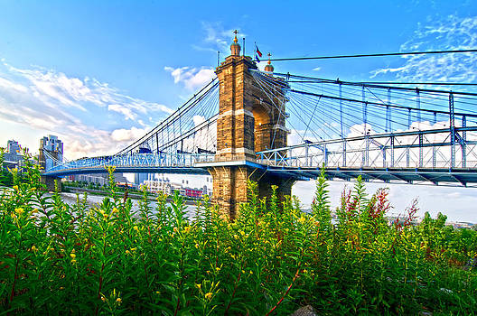 Randall Branham - Roebling Bridge and Flowers