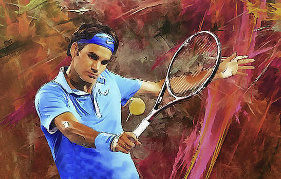 Roger Federer Backhand Art by RochVanh