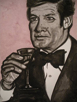 Roger Moore Watercolor Portrait by Jeremiah Cook