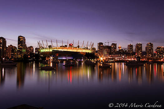 Rogers Arena at Dusk by Marie  Cardona