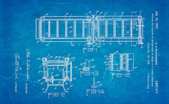 Ian Monk - Rohwedder Loaf Slicer Patent Art 1932 Blueprint