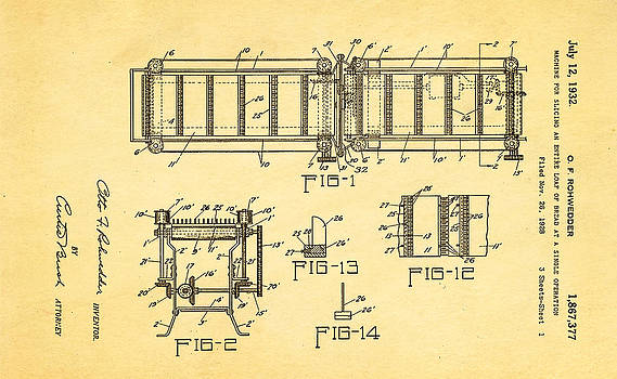 Ian Monk - Rohwedder Loaf Slicer Patent Art 1932