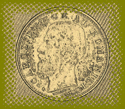 Romanian 1 Leu 1884 Coin sketch by Florinel Nicolai Deciu